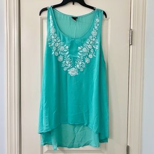 Torrid Seafoam Green Rose Embroidered Tank Top 2X